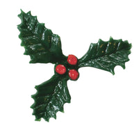 Plastic Holly Christmas Cake or Yule Log Decoration 25mm