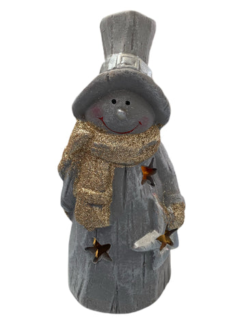 Decorative Ceramic LED Light Up Snowman Grey with Gold Scarf