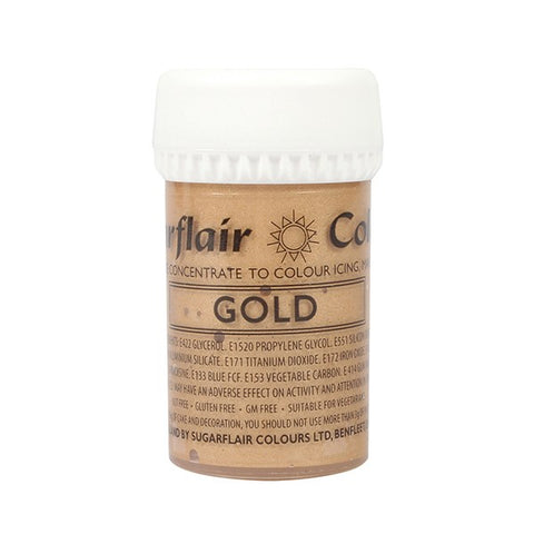 Sugarflair Paste Colours - Gold Satin - 25g New and Improved