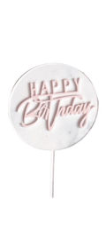 Acrylic Cake Topper Clear with Pink Happy Birthday Overlay