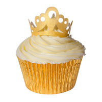 Gold Tiara Edible Wafer Toppers - Pack of 10 tiaras
