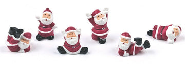 Tumbling Santas Father Christmas Plastic Cake Toppers - Assorted