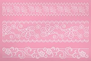 Kitchen Craft Sweetly Does It 40 x 27 cm Silicone Lace Border Icing Mat Pink