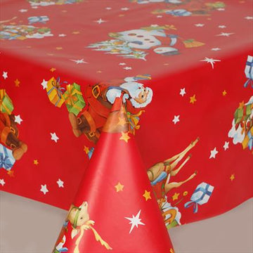 Santa Claus Traditional Red Christmas PVC Wipe Clean Vinyl Table Covering / Table Cloth