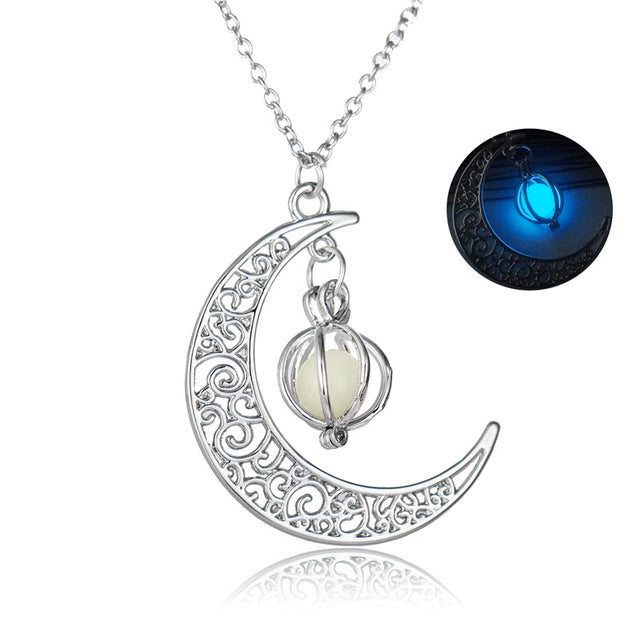 Glow In The Dark Jewelry Silver Plated with Crescent Shaped