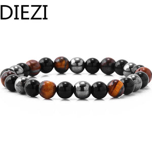 DIEZI Yoga Tiger Eye Hematite Black Obsidian 8mm Stone Bracelet for Drop Shipping