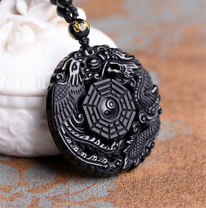 Natural Obsidian Carving BaGua Dragon Necklace