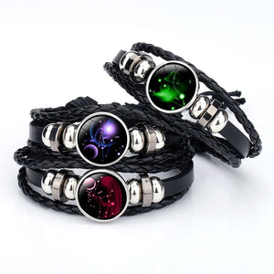 12 Constellation Handmade Leather Bracelets