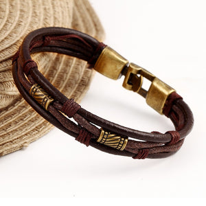 Bronze Multi layer Leather Braided Mens Bracelet