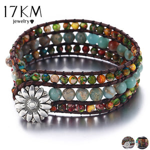 17KM 2 Design Vintage Natural Stone Bead Bracelets For Woman Men Multi Color Wristband Strand Bracelet Couples Bohemian Jewelry