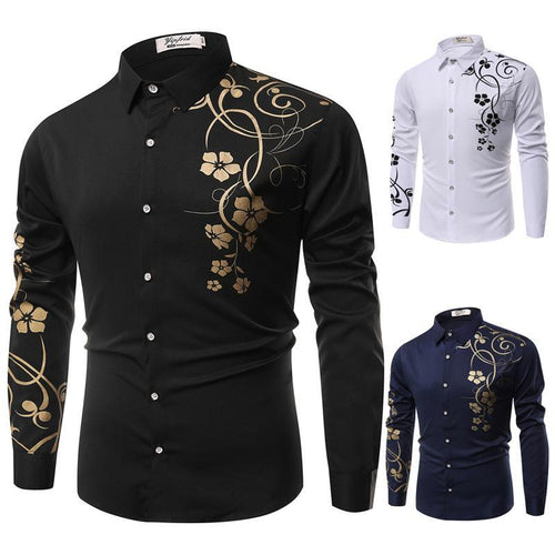 Men's Cotton Slim Shirt - Floral Print Classic Collar