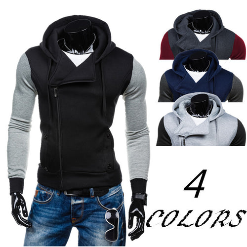 Casual Sports Colorblock Hooded Cardigan Men's Jacket