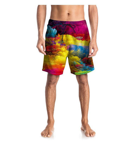 Colorful Clouds Printing Quick-Drying Beach Pants