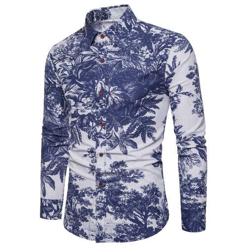 Fashion Floral Men's Long Sleeve Shirt