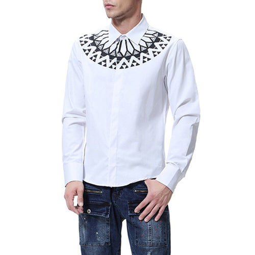Men's Fashion Neckline Printed Shirt