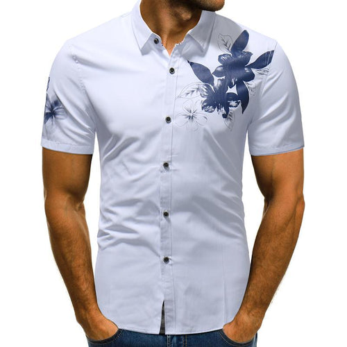 Fashion Thin Flower Men's Short Sleeve Shirt