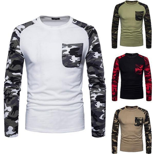 Men's Casual Camouflage Contrast Sports T-Shirt