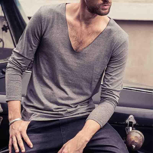Spring Men's V-Neck Personality Low Collar Long-Sleeved T-Shirt