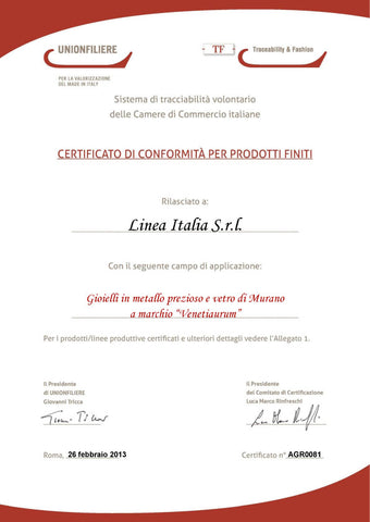 Certificato Made in Italy Venetiaurum