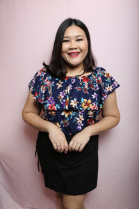 Ruffle Floral Navy | Plus Size Top