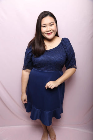 Dawn Lace Navy Dress (Plus Size Dress)