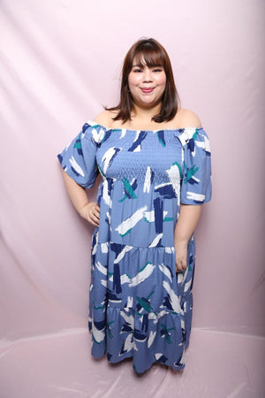 Cecil White Stroke Maxi Dress (Plus Size Maxi Dress Singapore)