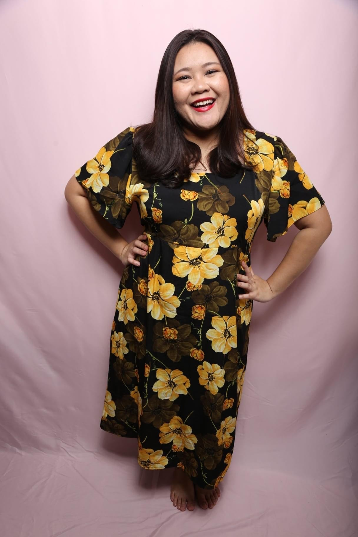 Cora Yellow Floral Dress (Plus Size Dress)