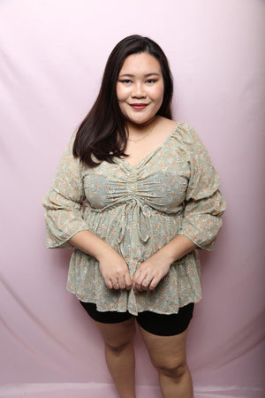 Nicole Gold Lace Top (Plus Size Tops)