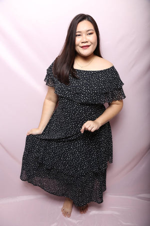 Ginaly Chiffon Black Maxi Dress (Plus Size Maxi Dress)