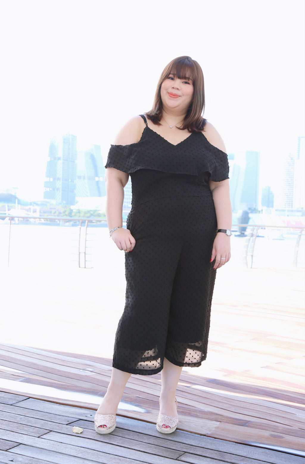 Love+ Black Thea Swiss Jumpsuit (Plus Size Jumpsuit)