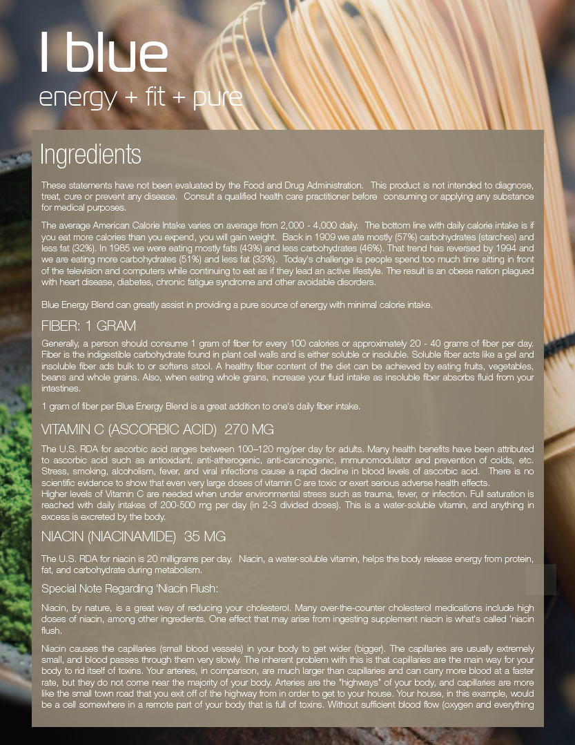 BHIP BLUE Energy Blend Ingredients