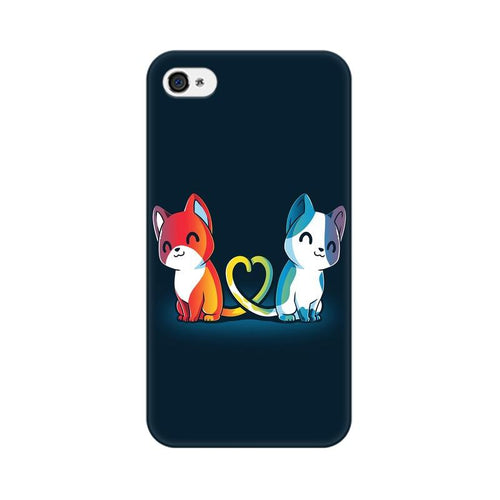 Purrfect Match Multicolour Phone Case For Apple iPhone 4s