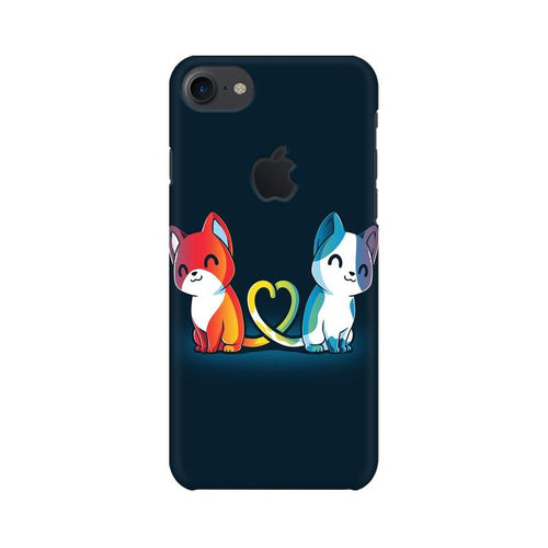 Purrfect Match Multicolour Phone Case For Apple iPhone 7 with Apple cut