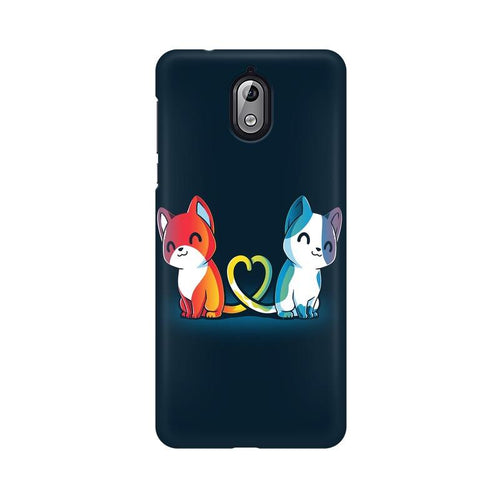 Purrfect Match Multicolour Case For Nokia 3 point 1