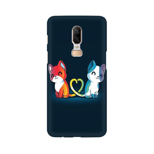 Purrfect Match Multicolour Case For OnePlus 6