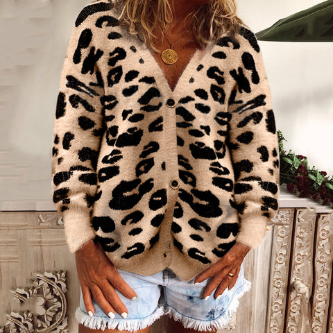 Leopard Print Long Sleeve Cardigan