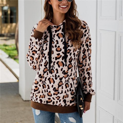 Women's casual loose leopard hooded top