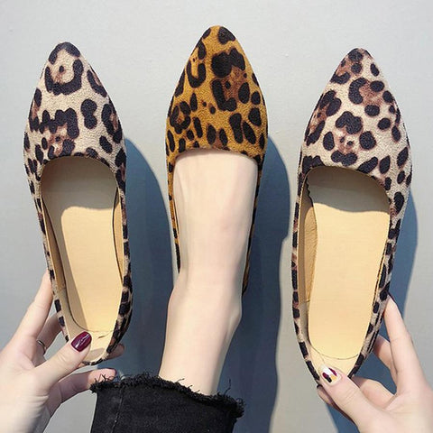 Animal Printed Flat Velvet Point Toe Casual Date Comfort Flats
