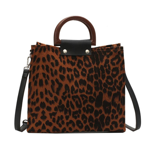 Women's Wooden Handle Portable Fashion Leopard Shoulder Diagonal Package