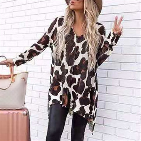 Casual Leopard Print Long Sleeve Loose Irregular Hem T-shirt