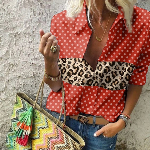 Ladies Casual Wave Point Leopard Striped Shirt