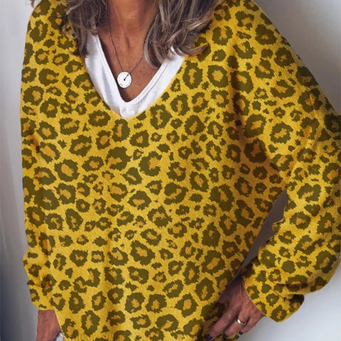 Streetwear Leopard Print V Neck Women's Sweater