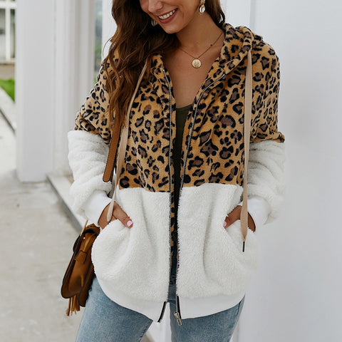 Fashion Leopard Stitching Zipper Hooded Plush Jacket