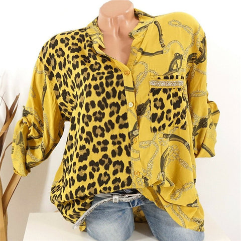 Women's Fashion Leopard Print Digital Coloring Long Sleeve Blouse