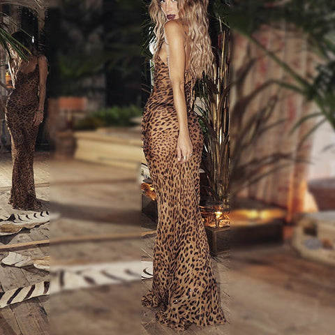 Fashion Leopard Printed Sling Maxi Dress