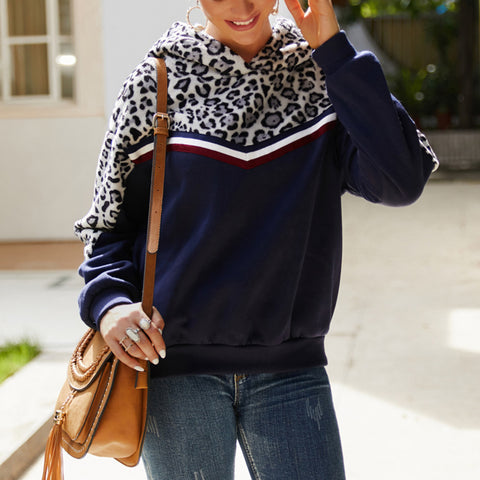 Simple Fashion Leopard Long Sleeve Hooded Sweater