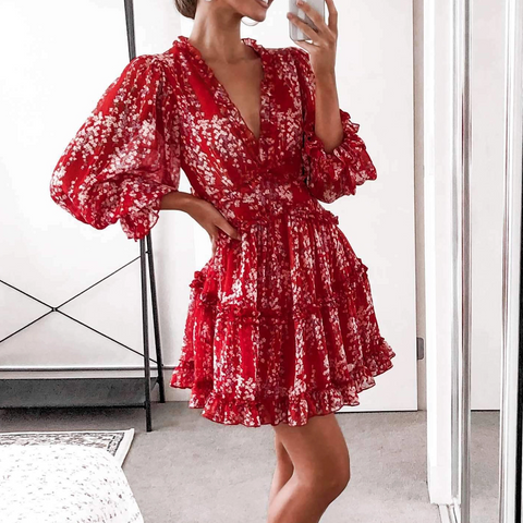 Printed V-Neck Halter Lantern Sleeves Wooden Ear Mini Dress