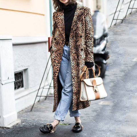 Fashion Leopard Print Double Row Button Large Lapel Long Sleeve Long Overcoat