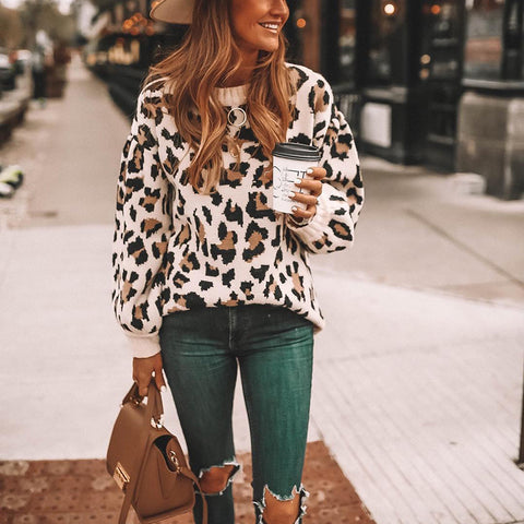 Fashion Round Neck Long Sleeve Leopard Sweater