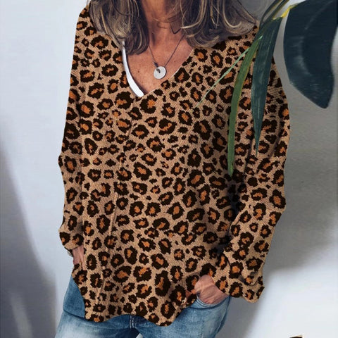 Fashion Loose V Neck Leopard Print Sweater